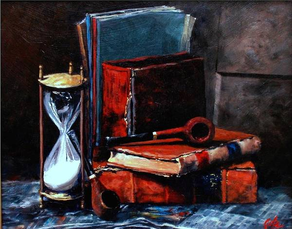 Still Life Painting Poster featuring the painting Time and Old Friends by Jim Gola
