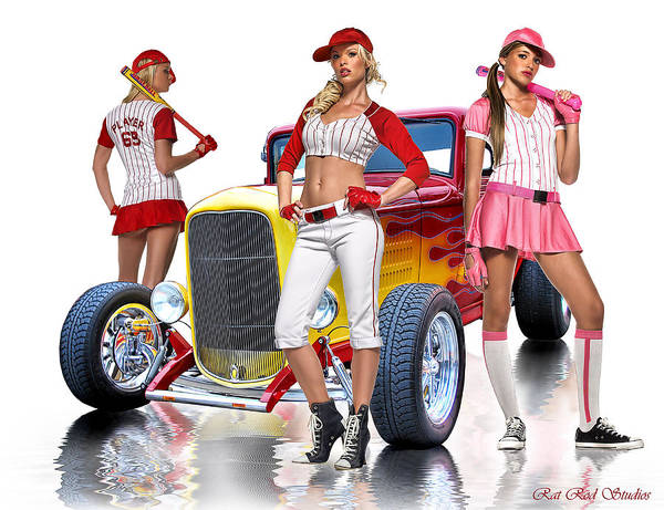 Hot Rod Poster featuring the digital art Time To Play Ball .... by Rat Rod Studios