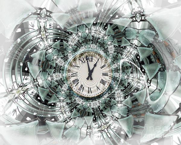 Clock Poster featuring the digital art Time Warp by Chuck Brittenham