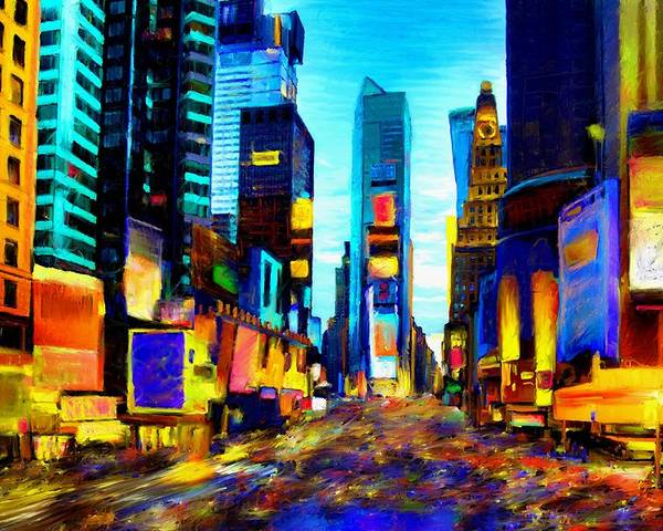 Manhatten Poster featuring the painting Times Square by Andrea Meyer