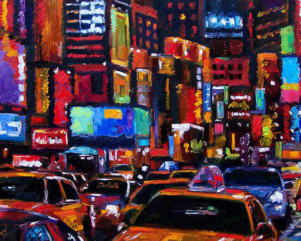 New York City Poster featuring the painting Times square by Debra Hurd