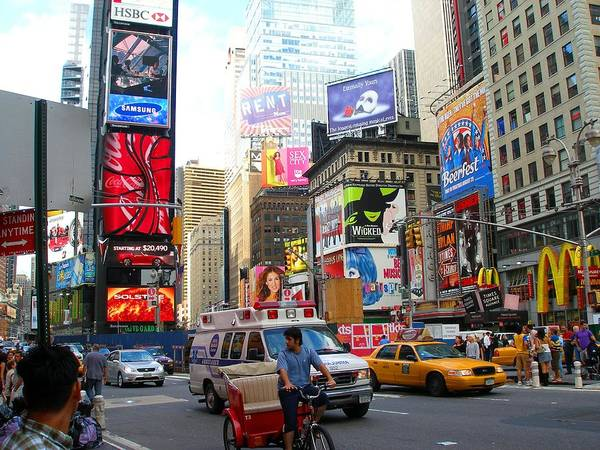 Downtown Poster featuring the photograph Times Square New York by Candace Garcia