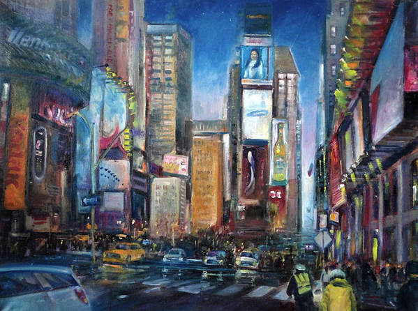 New York City Poster featuring the painting Times Square New York City by Hall Groat Sr
