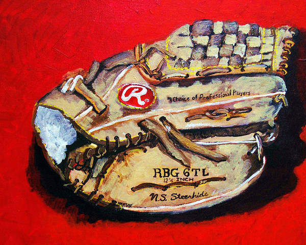 Baseball Poster featuring the painting Tim's Glove by Jame Hayes