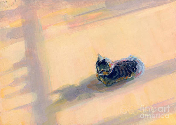 Gray Tabby Poster featuring the painting Tiny Kitten Big Dreams by Kimberly Santini