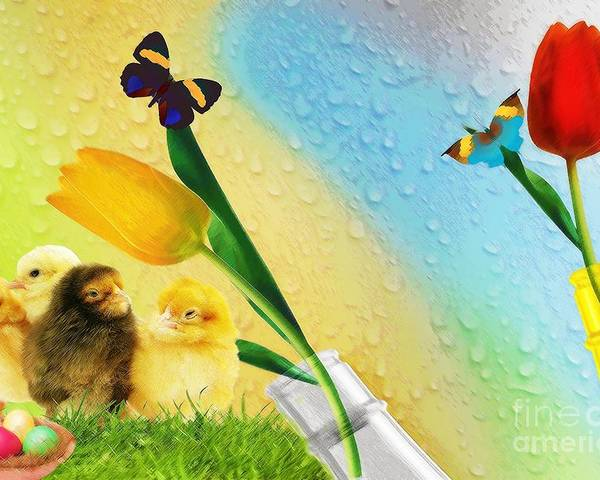 Bottle Poster featuring the digital art Tiptoe Through The Tulips by Liane Wright