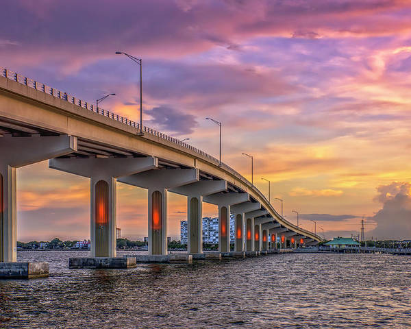 Bridge Poster featuring the photograph Titusville Sunset Bridge by Louise Hill