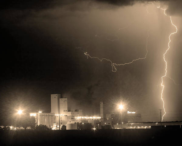 Budweiser Poster featuring the photograph To The Right Budweiser Lightning Strike Sepia by James BO Insogna