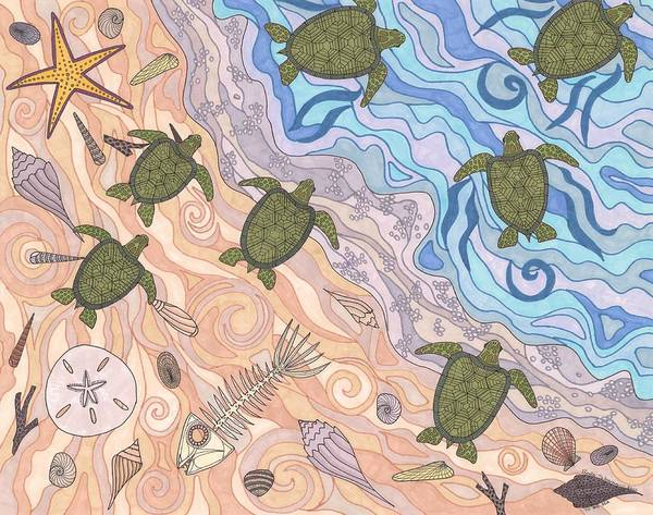 Turtles Poster featuring the drawing To The Sea by Pamela Schiermeyer