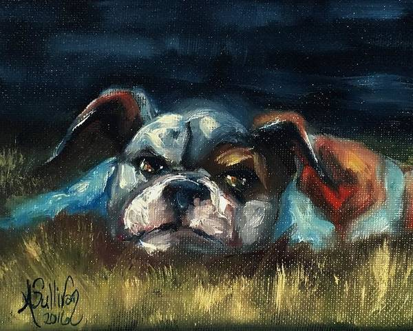 Dog Poster featuring the painting To Tired To Chase Cats by Angela Sullivan