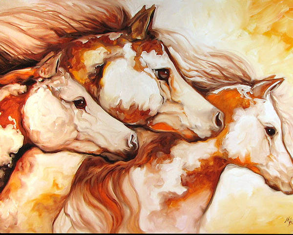 Equine Poster featuring the painting Tobiano Horse Trio by Marcia Baldwin