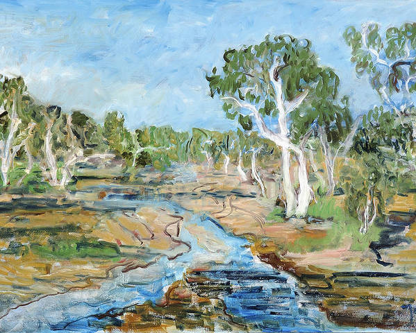 Australia Trees Eucalyptus Alice Springs River Dry White Bark Blue Sky Poster featuring the painting Todd River by Joan De Bot