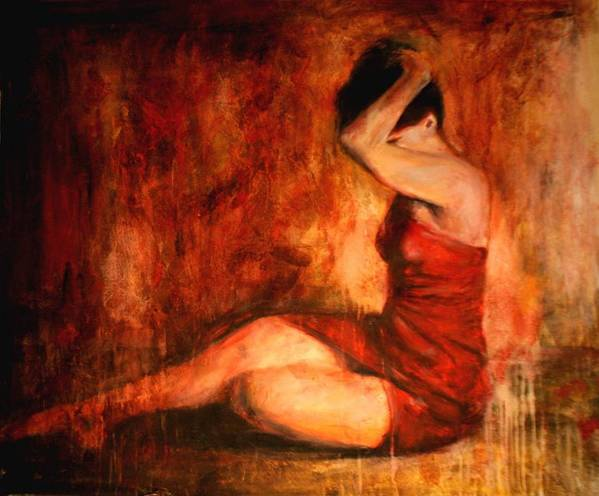Nude Poster featuring the painting Tollerante by Escha Van den bogerd