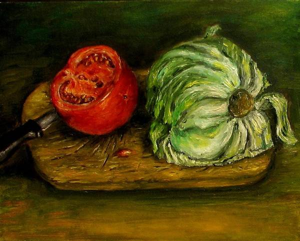 Tomatoes Poster featuring the painting Tomato And Cabbage Oil Painting Canvas by Natalja Picugina