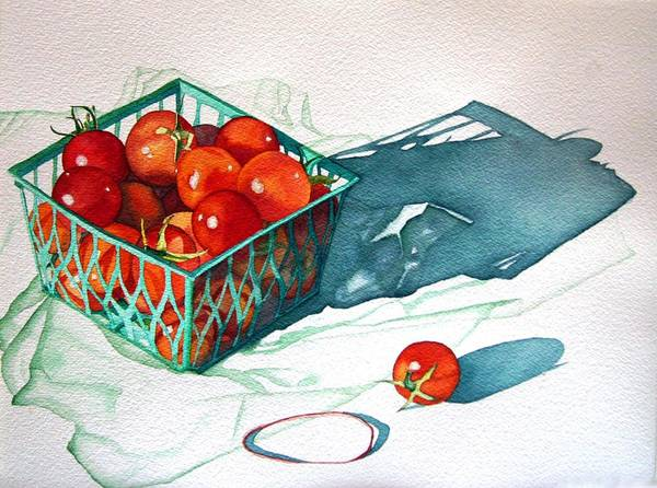 Tomatos Poster featuring the painting Tomato Basket by Gail Zavala