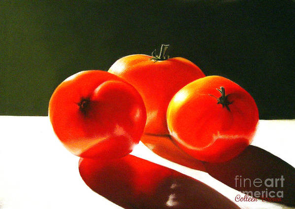 Red Poster featuring the painting Tomayta Tomato by Colleen Brown