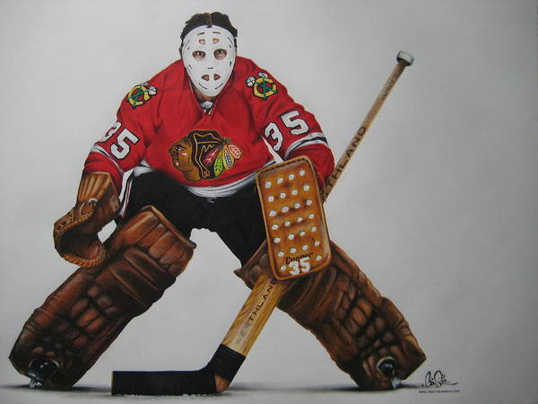 Hockey Poster featuring the drawing Tony Esposito by Brian Schuster