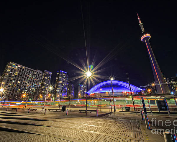 Toronto Poster featuring the photograph Toronto Harbourfront Street Car Light Trails by Charline Xia