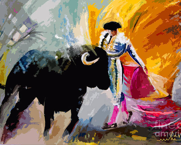 Toros Poster featuring the mixed media Toroscape 03 by Miki De Goodaboom