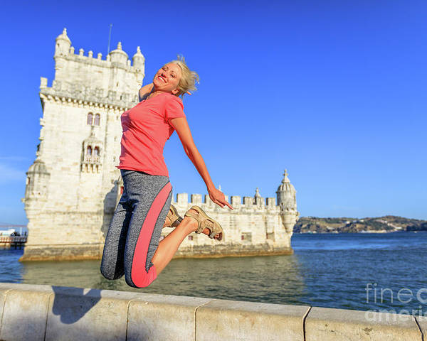 Lisbon Poster featuring the photograph Torre De Belem Jumping by Benny Marty