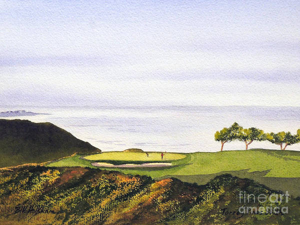 Torrey Pines Golf Course Poster featuring the painting Torrey Pines South Golf Course by Bill Holkham