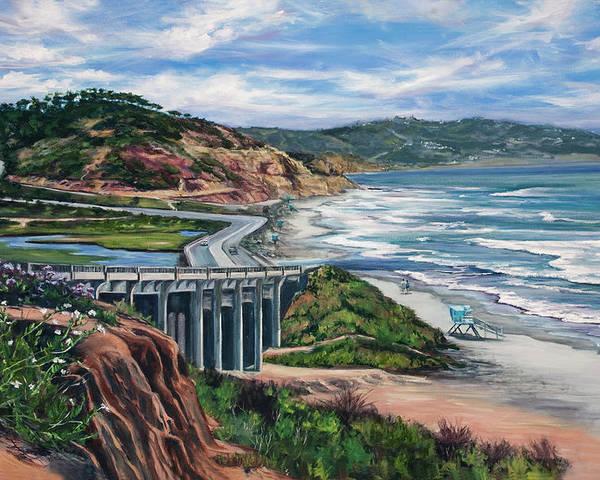 Torrey Pines State Beach Poster featuring the painting Torrey's Bridge by Lisa Reinhardt