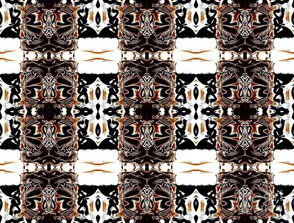 Abstract Pattern Poster featuring the digital art Totheme Black And Brown by Elisabeth Skajem Atter