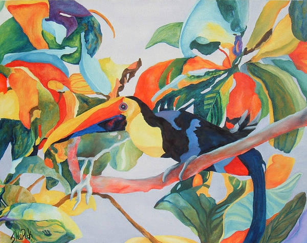 Bird Poster featuring the painting Toucan by SheRok Williams