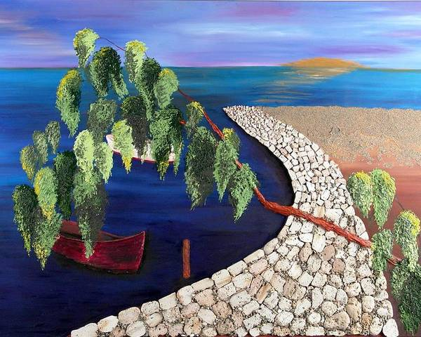 Seascape Poster featuring the painting Touched by Helene Lagoudakis