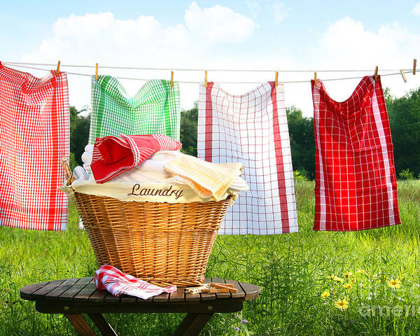 Basket Poster featuring the digital art Towels Drying On The Clothesline by Sandra Cunningham