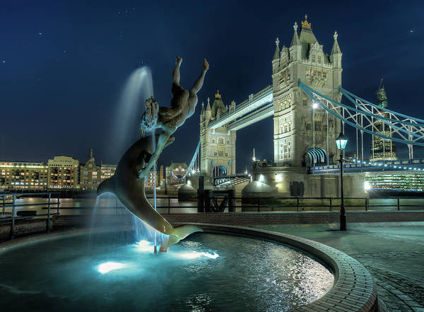 Horizontal Poster featuring the photograph Tower Bridge In London by Vulture Labs