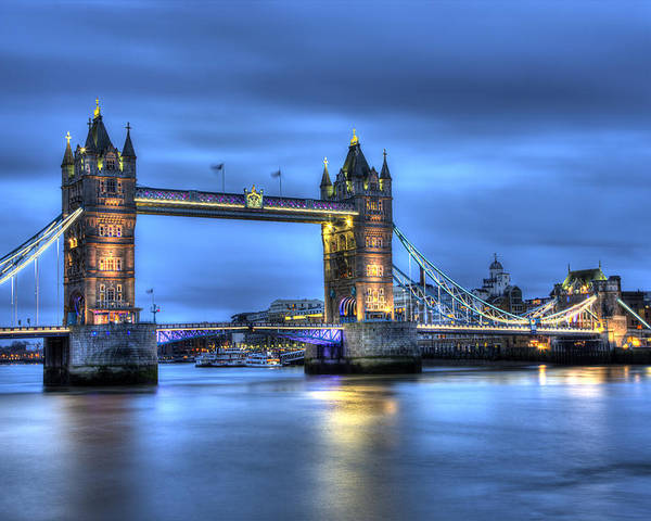 Tower Bridge Poster featuring the photograph Tower Bridge London Blue Hour by Shawn Everhart