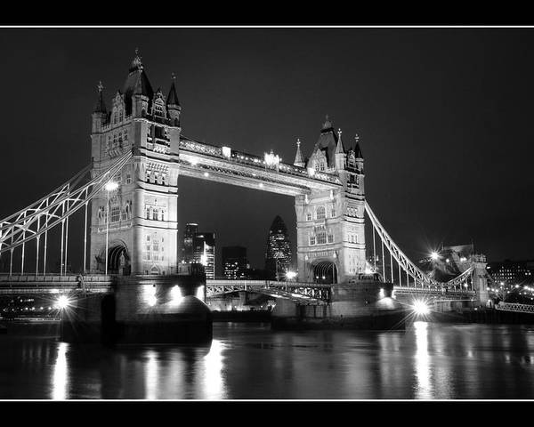 Landscape Waterscape Tower Bridge River Thames Night Lomdon Poster featuring the photograph Tower Bridge London. by Jon Daly