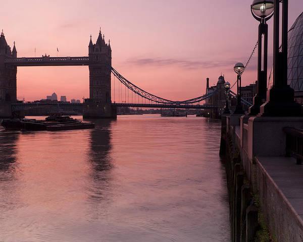 London Poster featuring the photograph Tower Bridge Sunrise by Donald Davis