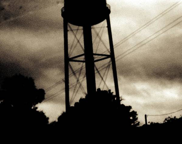 Water Tower Poster featuring the photograph Tower With Intersecting Lines II by Stephen Hawks