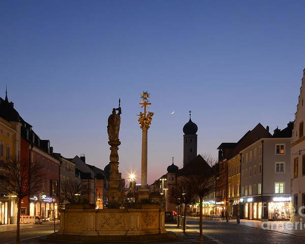 Straubing Poster featuring the photograph town center of Straubing by Karin Stein