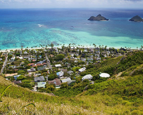 Aerial View Poster featuring the photograph Town Of Kailua With Mokulua Islands by Inti St. Clair