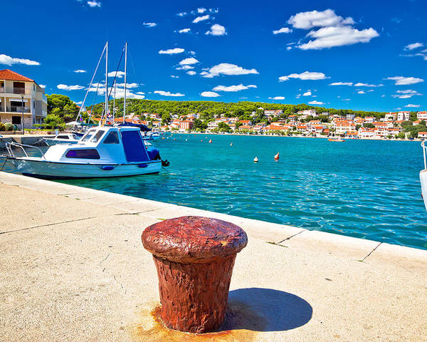 Croatia Poster featuring the photograph Town Of Tisno Harbor And Waterfront by Brch Photography
