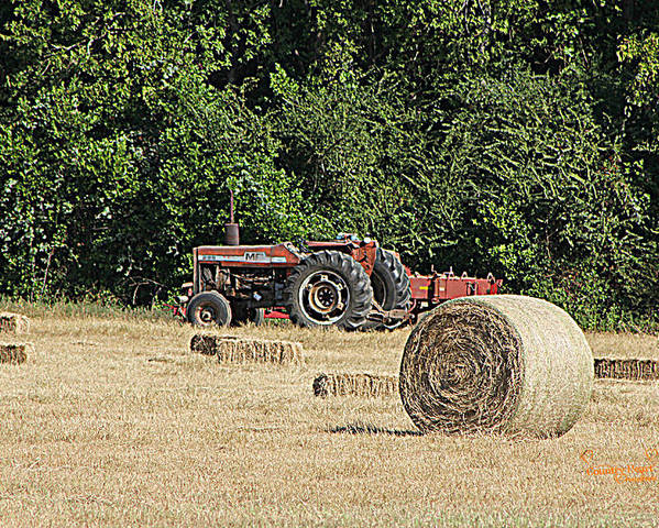 Tractor Poster featuring the photograph Tractor In The Hay Field by Jean Hurst