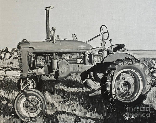 Landscape Poster featuring the painting Tractor by Mary Capriole