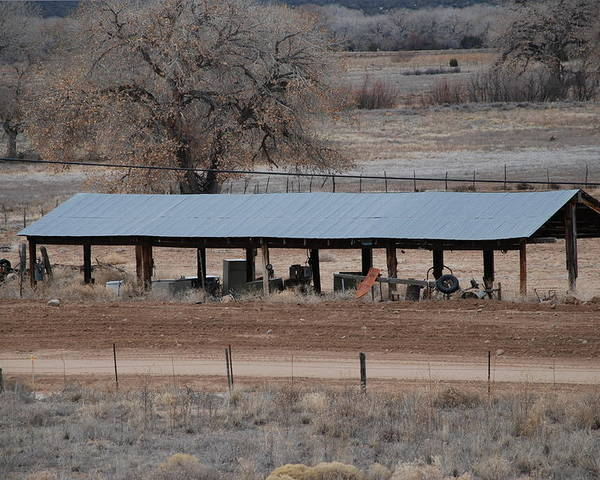 Architecture Poster featuring the photograph Tractor Port On The Ranch by Rob Hans