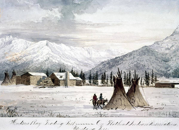 1860 Poster featuring the painting Trading Outpost, C1860 by Granger