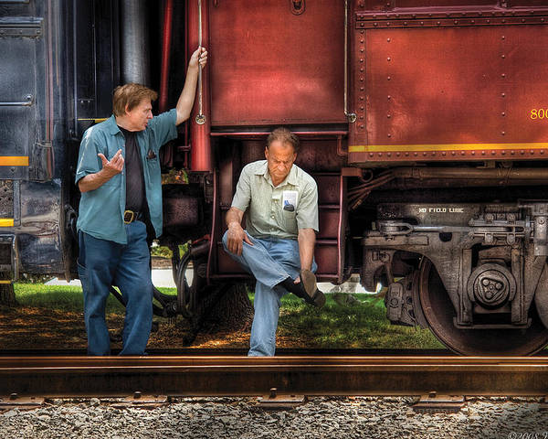 Savad Poster featuring the photograph Train - Yard - Shoot'in The Breeze by Mike Savad