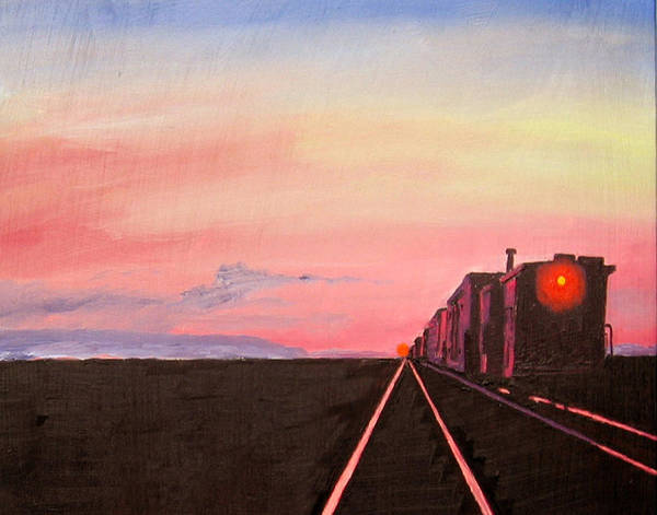 Tran Poster featuring the painting Train At Sundown by Stan Hamilton