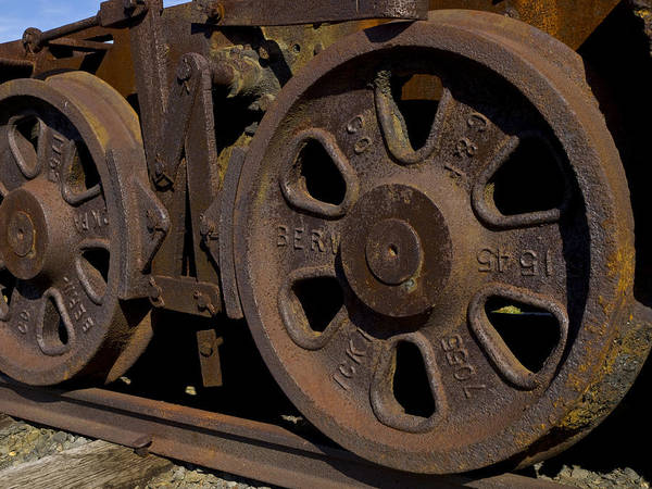 Eckley Village; Historic Structure; Luzerne County; Train Wheels Poster featuring the photograph Train Wheels At Eckley Village by Bob Hahn