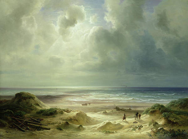 Dune By Hegoland Poster featuring the painting Tranquil Sea by Carl Morgenstern