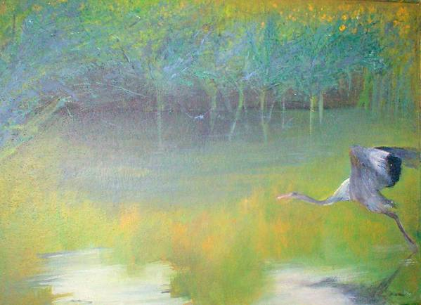 Landscape Poster featuring the painting Tranquil by Tinsu Kasai