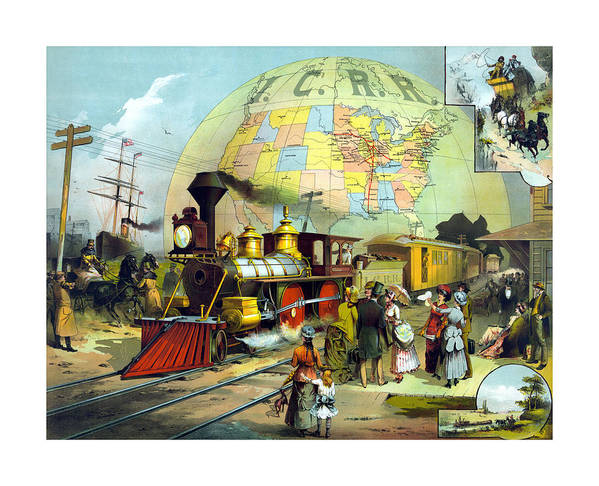 Trains Poster featuring the painting Transcontinental Railroad by War Is Hell Store