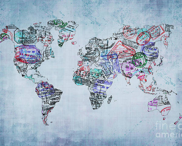 World Map Watermark.Traveler World Map Poster By Delphimages Photo Creations