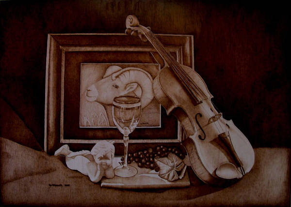 Pyrography Poster featuring the pyrography Treasures by Jo Schwartz
